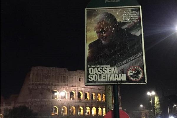 Fotografías y afiches del general Qassim Soleimaní en los muros de las calles italianas