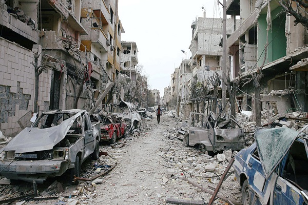 غیرنظامیان سپر انسانی تروریست ها در غوطه شرقی / در حال تکمیل