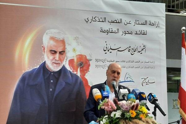رونمایی از تندیس سردار سلیمانی در پایتخت لبنان + فیلم / اماده